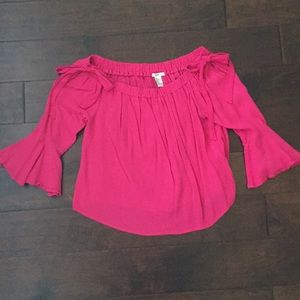 Forever 21 S off the shoulder pink top with bows